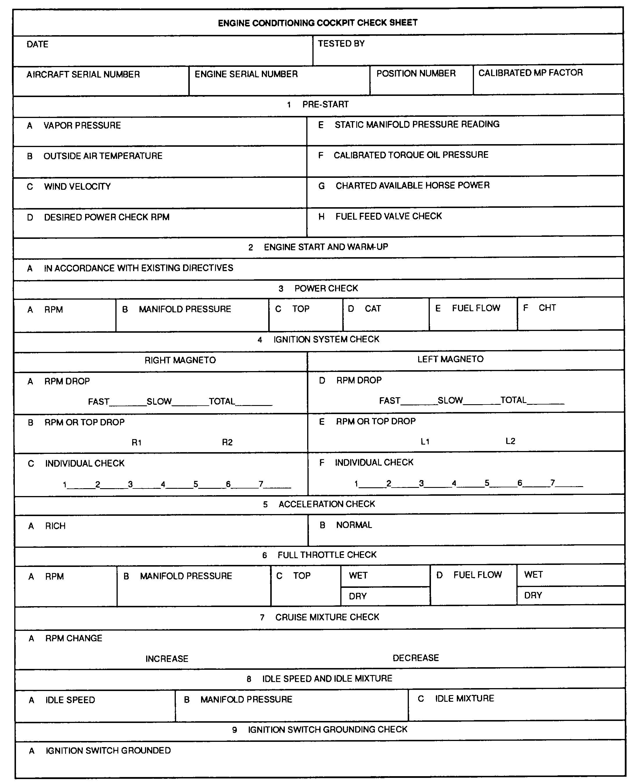 Figure 7 23 Engine Conditioning Cockpit Check Sheet